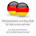 abmahnsichere Plentymarkets und Etsy AGB für Kleinunternehmer B2C und B2B