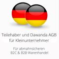 abmahnsichere Teilehaber und Dawanda AGB für Kleinunternehmer B2C und B2B