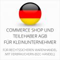 Abmahnsichere Commerce Shop und Teilehaber AGB für Kleinunternehmer