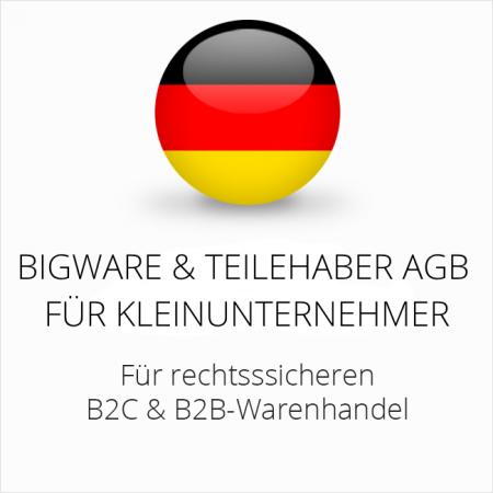 abmahnsichere Bigware und Teilehaber AGB B2C und B2B für Kleinunternehmer