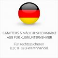 abmahnsichere E-Matters und Mädchenflohmarkt AGB B2C und B2B für Kleinunternehmer