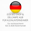 abmahnsichere ECB SEO Shop und Delcampe AGB B2C und B2B für Kleinunternehmer