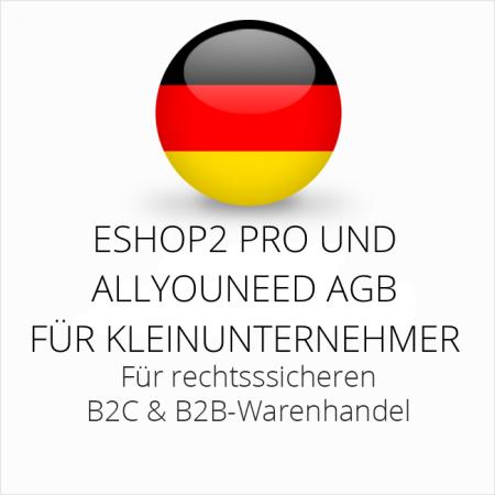 abmahnsichere ESHOP2 Pro und Allyouneed AGB B2C und B2B für Kleinunternehmer