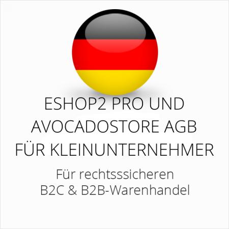 abmahnsichere ESHOP2 Pro und Avocadostore AGB B2C und B2B für Kleinunternehmer