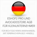 abmahnsichere ESHOP2 Pro und Avocadostore AGB für Kleinunternehmer