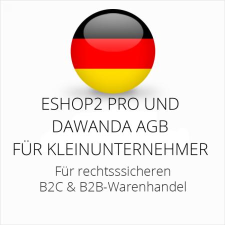 abmahnsichere ESHOP2 Pro und Dawanda AGB B2C und B2B für Kleinunternehmer