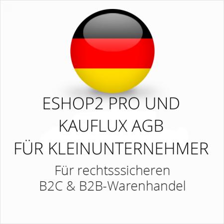 abmahnsichere ESHOP2 Pro und Kauflux AGB B2C und B2B für Kleinunternehmer