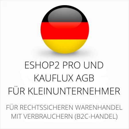 abmahnsichere ESHOP2 Pro und Kauflux AGB für Kleinunternehmer