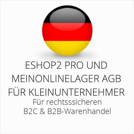 abmahnsichere ESHOP2 Pro und MeinOnlineLager AGB B2C und B2B für Kleinunternehmer