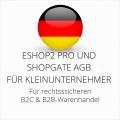 abmahnsichere ESHOP2 Pro und Shopgate AGB B2C und B2B für Kleinunternehmer