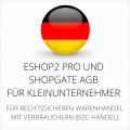 abmahnsichere ESHOP2 Pro und Shopgate AGB für Kleinunternehmer
