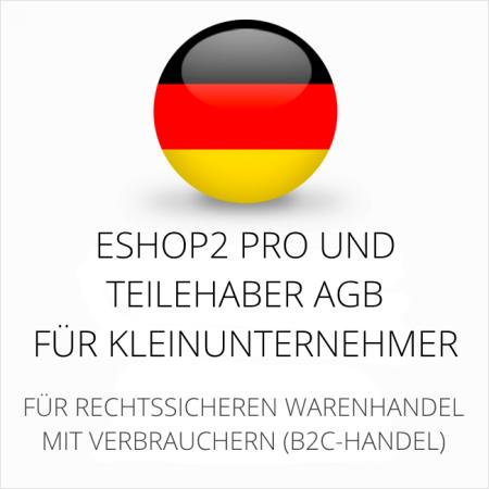 abmahnsichere ESHOP2 Pro und Teilehaber AGB für Kleinunternehmer