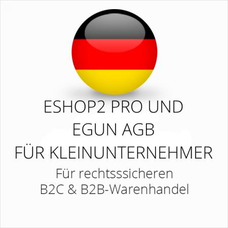 abmahnsichere ESHOP2 Pro und eGun AGB B2C und B2B für Kleinunternehmer