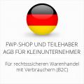 abmahnsichere FWP-Shop und Teilehaber AGB für Kleinunternehmer