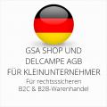 abmahnsichere GSA Shop und Delcampe AGB B2C und B2B für Kleinunternehmer