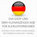 abmahnsichere GSA Shop und Ebay-Kleinanzeigen AGB für Kleinunternehmer