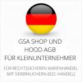 abmahnsichere GSA Shop und Hood AGB für Kleinunternehmer