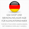 abmahnsichere GSA Shop und MeinOnlineLager AGB für Kleinunternehmer