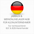 abmahnsichere Jabba24 und Meinonlinelager AGB B2C und B2B für Kleinunternehmer