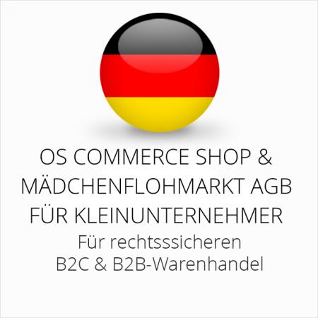 abmahnsichere OS Commerce Shop und Mädchenflohmarkt AGB B2C und B2B für Kleinunternehmer