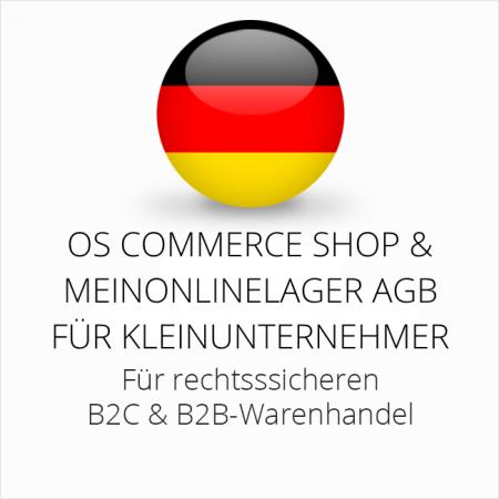 abmahnsichere OS Commerce Shop und Meinonlinelager AGB B2C und B2B für Kleinunternehmer