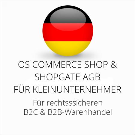 abmahnsichere OS Commerce Shop und Shopgate AGB B2C und B2B für Kleinunternehmer
