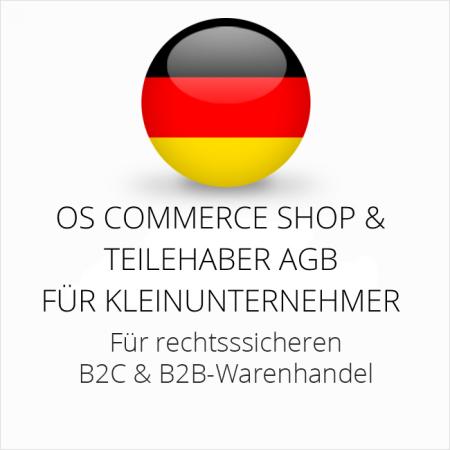 abmahnsichere OS Commerce Shop und Teilehaber AGB B2C und B2B für Kleinunternehmer