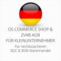 abmahnsichere OS Commerce Shop und ZVAB AGB B2C und B2B für Kleinunternehmer