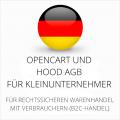 abmahnsichere Opencart und Hood AGB für Kleinunternehmer