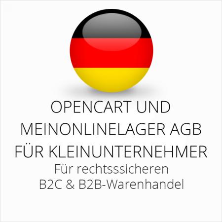 abmahnsichere Opencart und MeinOnlineLager AGB B2C und B2B für Kleinunternehmer