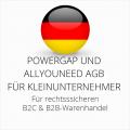 abmahnsichere Powergap und Allyouneed AGB B2C und B2B für Kleinunternehmer