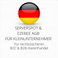abmahnsichere Serverspot und Ezebee AGB B2C und B2B für Kleinunternehmer