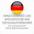abmahnsichere Versa Commerce und Avocadostore AGB B2C und B2B für Kleinunternehmer