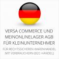 abmahnsichere Versa Commerce und MeinOnlineLager AGB für Kleinunternehmer