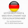abmahnsichere Veyton Multi-Shop und Mädchenflohmarkt AGB B2C und B2B für Kleinunternehmer