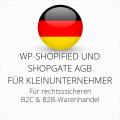 abmahnsichere WP-Shopified und Shopgate AGB B2C und B2B für Kleinunternehmer