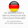 abmahnsichere XTC Modified Shop und Ebay-Kleinanzeigen AGB B2C und B2B für Kleinunternehmer