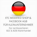 abmahnsichere XTC Modified Shop und Facebook AGB B2C und B2B für Kleinunternehmer