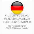 abmahnsichere XTC Modified Shop und Meinonlinelager AGB B2C und B2B für Kleinunternehmer