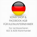 abmahnsichere Xonix Shop und Facebook AGB B2C und B2B für Kleinunternehmer