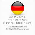 abmahnsichere Xonix Shop und Teilehaber AGB B2C und B2B für Kleinunternehmer