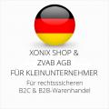 abmahnsichere Xonix Shop und ZVAB AGB B2C und B2B für Kleinunternehmer