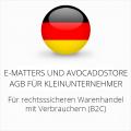 abmahnsichere e-matters und Avocadostore AGB für Kleinunternehmer
