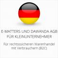 abmahnsichere e-matters und Dawanda AGB für Kleinunternehmer