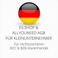 abmahnsichere es-shop und Allyouneed AGB B2C und B2B für Kleinunternehmer