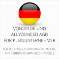 abmahnsichere vondir.de und Allyouneed AGB für Kleinunternehmer