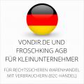 abmahnsichere vondir.de und Froschking AGB für Kleinunternehmer
