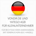 abmahnsichere vondir.de und Yatego AGB für Kleinunternehmer