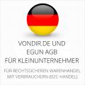abmahnsichere vondir.de und eGun AGB für Kleinunternehmer