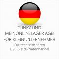 abmahnsichere Flinky und MeinOnlineLager AGB B2C und B2B für Kleinunternehmer